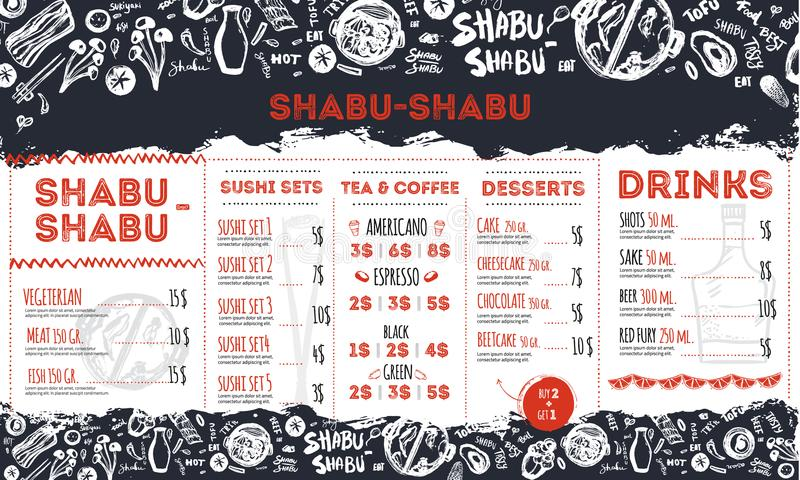 Molde moderno do restaurante do sukiyaki do shabu com garatujas e rotulação do grunge Projeto asiático do molde do vetor ilustração stock