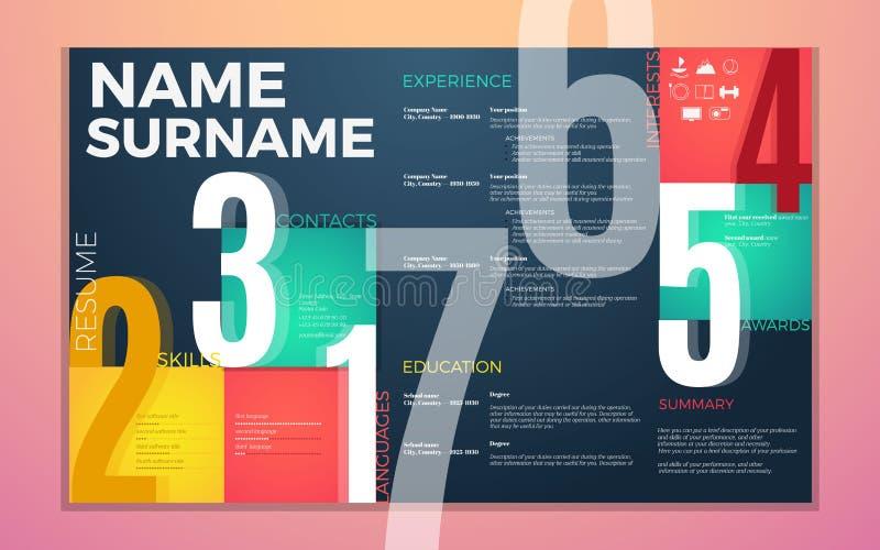 Molde moderno do resumo do cv O contraste brilhante colore infographic com o curriculum vitae infographic ilustração royalty free