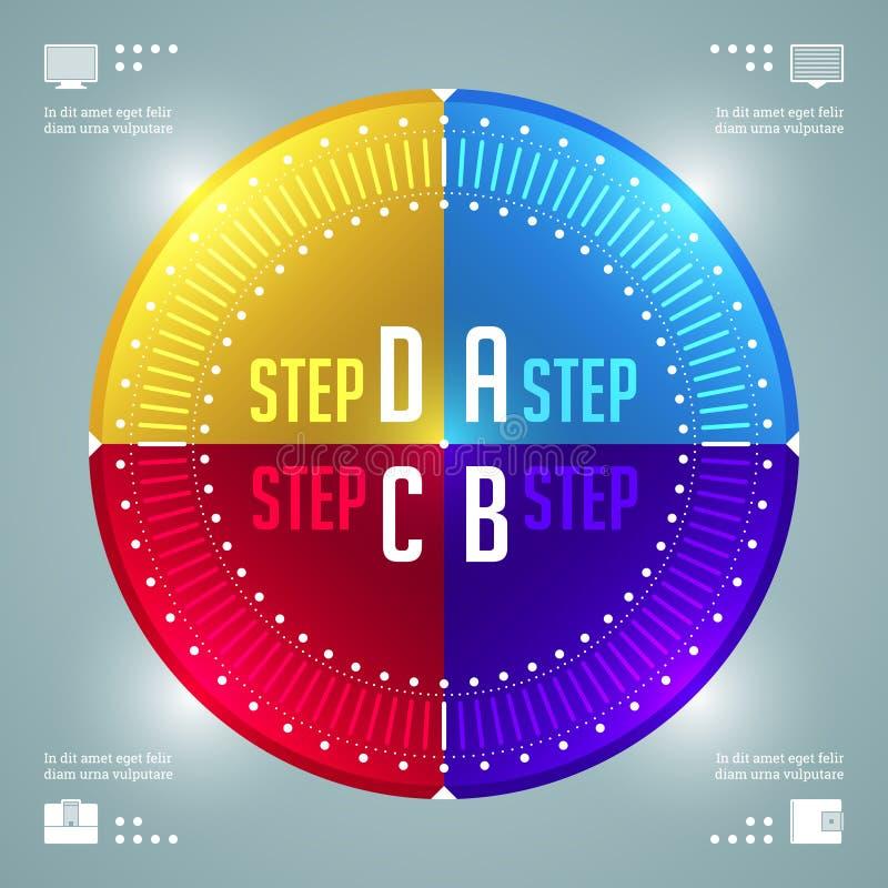 Molde moderno do vetor de Infographics. Diagrama dos gráfico de setores circulares. Projeto da ilustração do conceito do vetor EPS ilustração stock