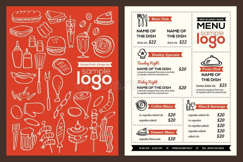Molde moderno do vetor do panfleto do projeto da tampa do menu do restaurante ilustração royalty free