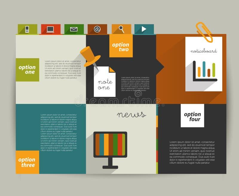 Molde moderno do Web site Bandeira minimalistic colorida da opção ilustração stock
