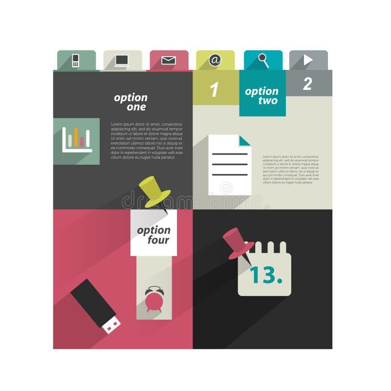 Molde moderno do Web site Bandeira minimalistic colorida da opção ilustração royalty free
