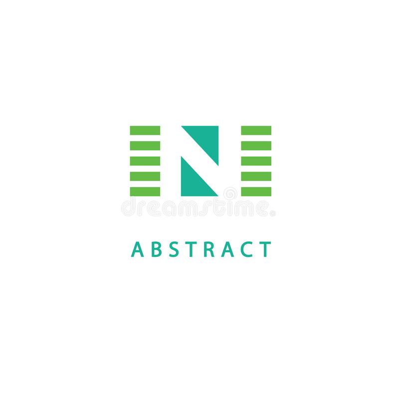Molde moderno dos elementos do projeto do monograma Projeto elegante do logotipo de Geomeric Linha monograma do logotipo de N da  ilustração stock