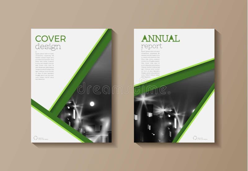 Molde moderno verde do folheto do livro da tampa, projeto, repo anual ilustração royalty free