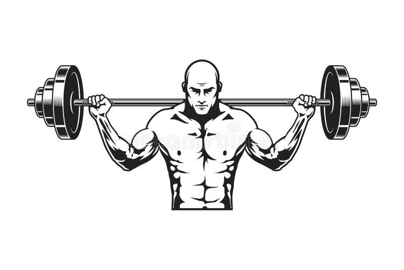 Molde monocromático do ícone do homem forte ilustração do vetor