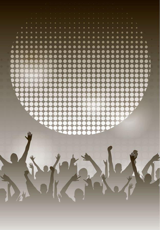 Molde monocromático do fundo do cartaz da noite do dance party Ilustração do vetor ilustração do vetor