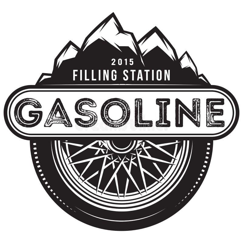 Molde monocromático do vetor para o posto de gasolina com roda e montanhas ilustração stock