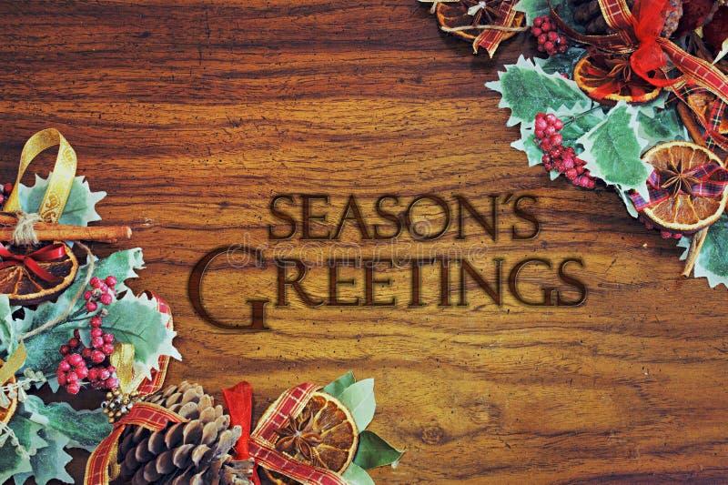 Molde morno do cartão do tema do Natal com as decorações da árvore do xmas ilustração stock