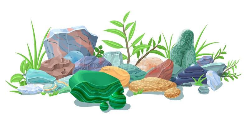 Molde natural colorido das pedras dos desenhos animados ilustração stock