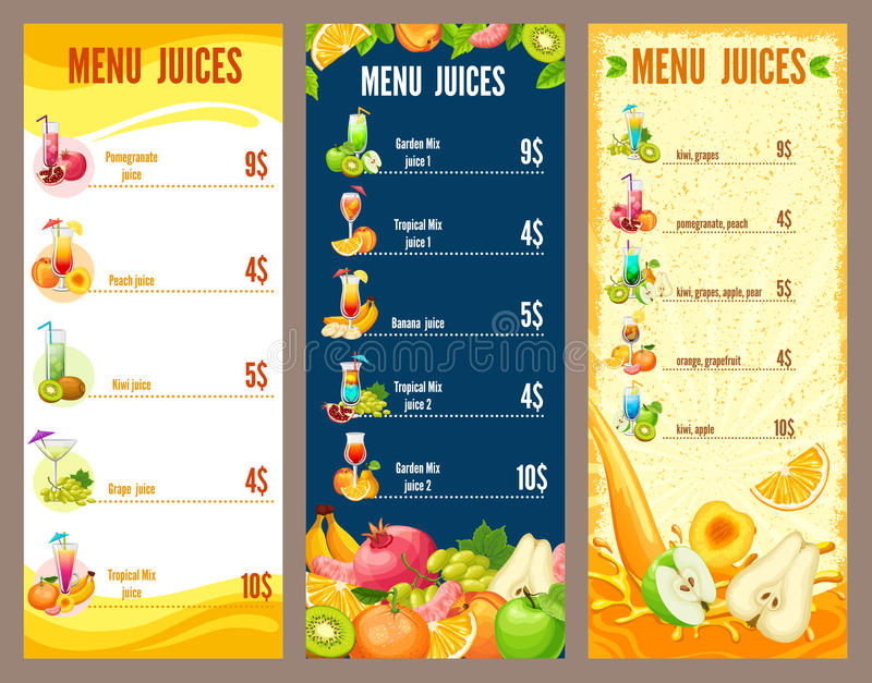 Molde natural colorido do menu dos sucos ilustração stock