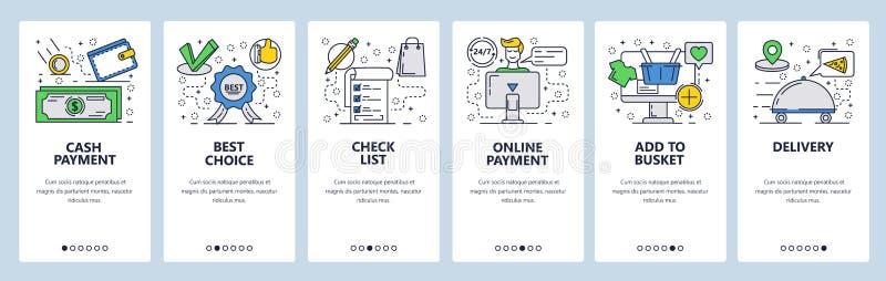 Molde onboarding das telas da arte linear da site do vetor  Bandeiras do menu para o Web site e ilustração do vetor