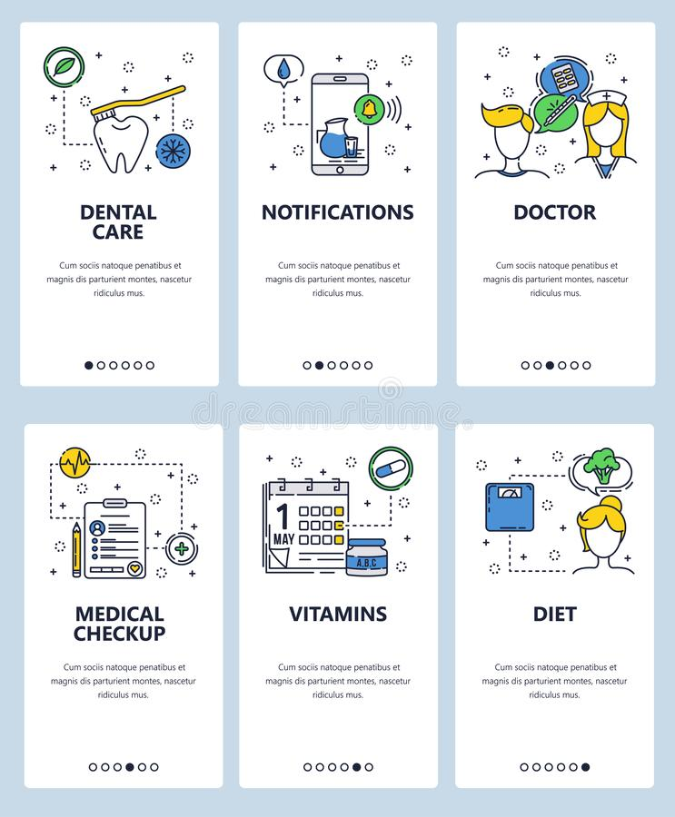 Molde onboarding das telas da arte linear da site do vetor Cuidados médicos e controles médicos, doutor, vitaminas Bandeiras do m ilustração stock