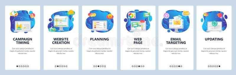 Molde onboarding do vetor das telas do Web site e do app móvel ilustração do vetor