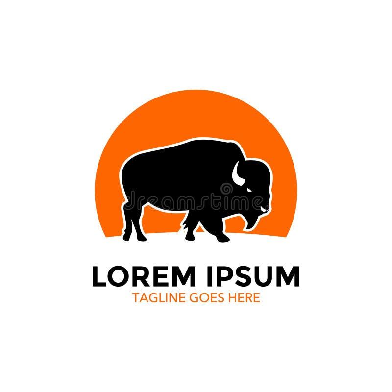 Molde original do logotipo do bisonte Vetor editable ilustração stock