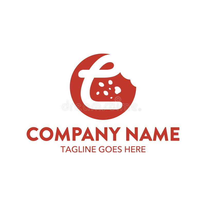 Molde original do logotipo do bolo e das cookies Vetor editable ilustração royalty free