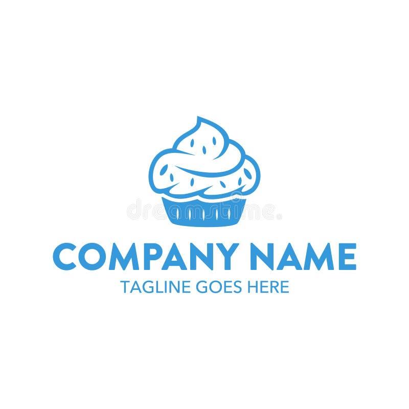 Molde original do logotipo do bolo e das cookies Vetor editable ilustração stock