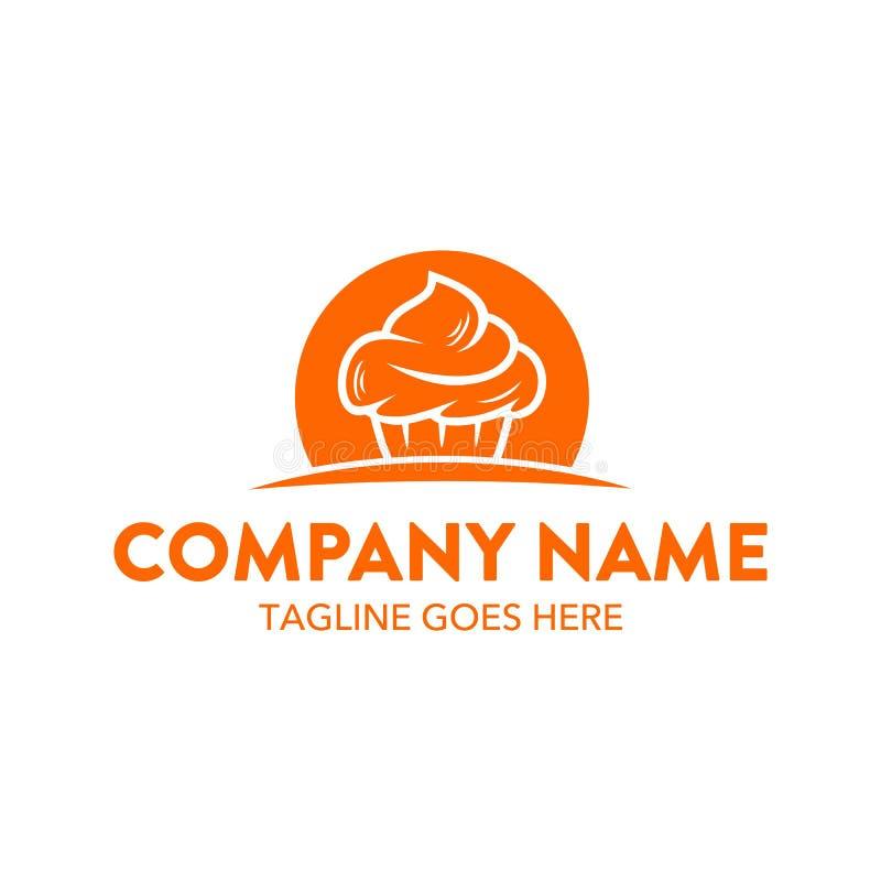 Molde original do logotipo do bolo e das cookies Vetor editable ilustração do vetor