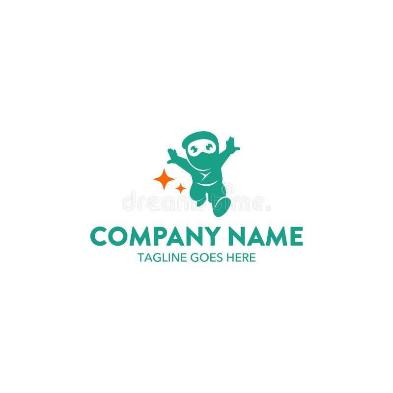 Molde original do logotipo do caráter da mascote do ninja Vetor editable ilustração stock