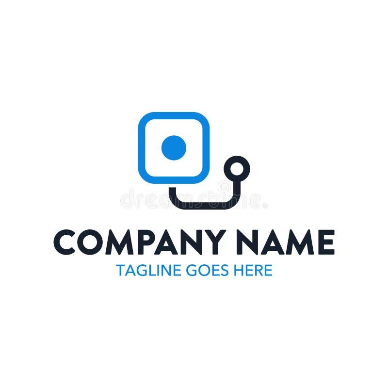 Molde original do logotipo da tecnologia Vetor editable ilustração stock