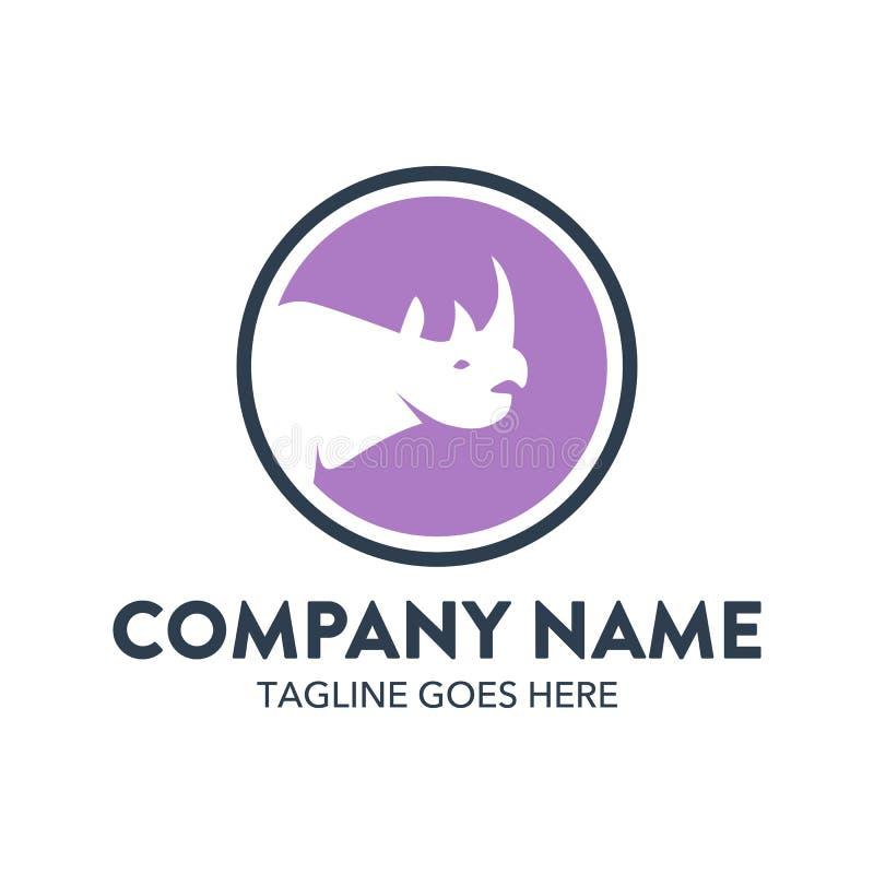 Molde original do logotipo do rinoceronte Vetor editable ilustração stock