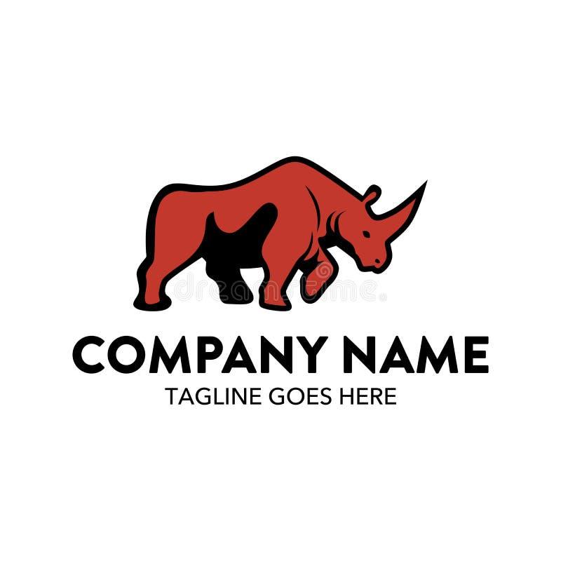 Molde original do logotipo do rinoceronte Vetor editable ilustração royalty free