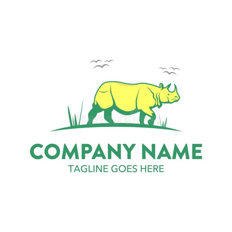 Molde original do logotipo do rinoceronte Vetor editable ilustração do vetor