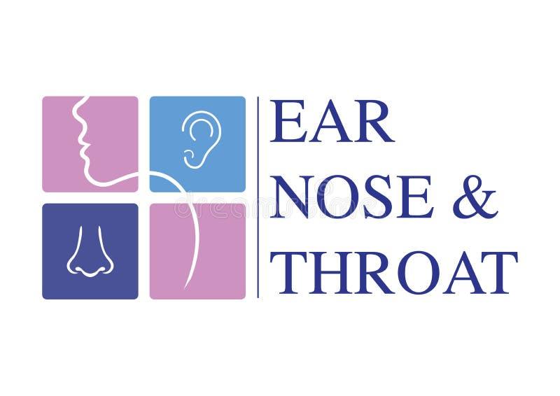 Molde OTORRINOLARINGOLÓGICO do logotipo Dirija para a orelha, nariz, especialistas do doutor da garganta Logo Concept linha ícone ilustração royalty free