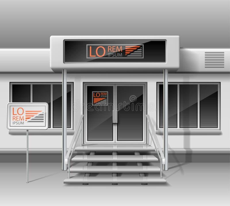 Molde para anunciar a fachada da parte dianteira da loja 3d Loja exterior para a identidade corporativa Modelo vazio da montra e ilustração royalty free