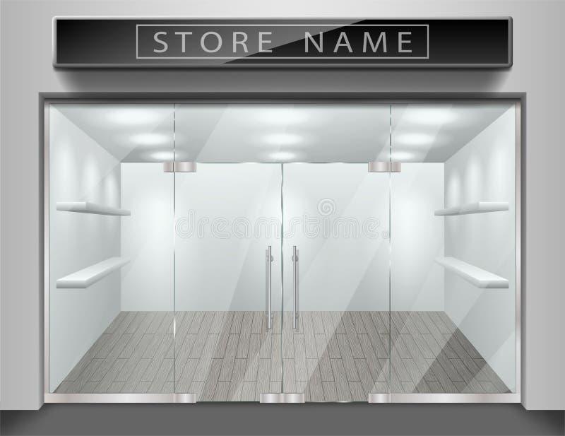 Molde para anunciar a fachada dianteira da loja Exteriores realísticos esvaziam a loja com janela Modelo vazio do vidro à moda ilustração do vetor