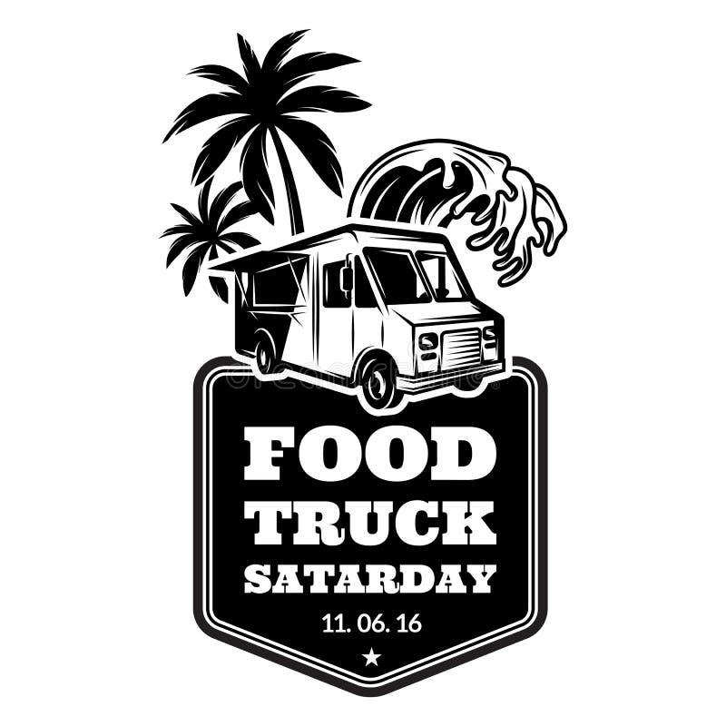 Molde para anunciar no estilo retro em um tema do festival do alimento com trilha do alimento, palmeiras e onda de água Mal monoc ilustração royalty free