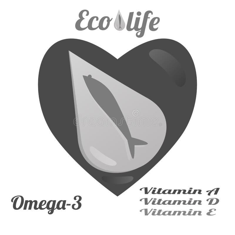 Molde para anunciar o óleo de peixes ilustração royalty free