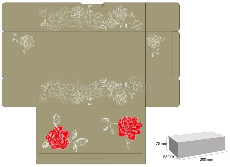 Molde para a caixa de presente com cortado. ilustração royalty free