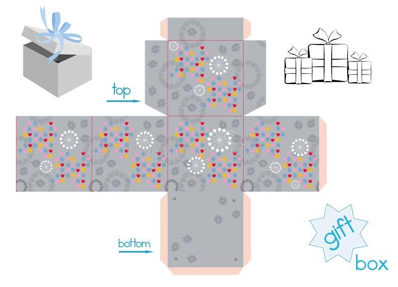 Molde para a caixa de presente do cubo ilustração do vetor
