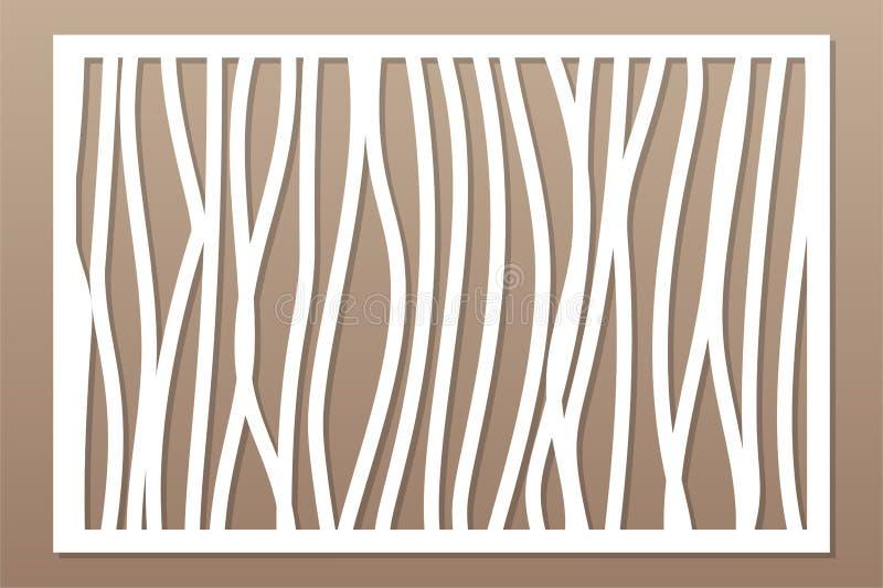 Molde para cortar Linha abstrata, teste padrão geométrico Corte do laser Ajuste o 2:3 da relação Ilustração do vetor ilustração do vetor