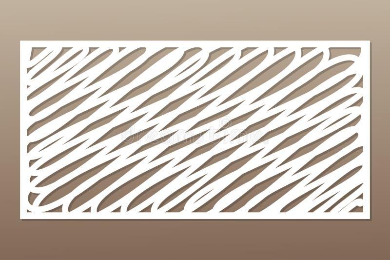 Molde para cortar Linhas abstratas teste padrão da arte Corte do laser 1:2 da relação Ilustração do vetor ilustração stock