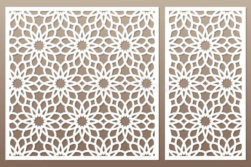 Molde para cortar Teste padrão de flor geométrico Corte do laser Ajuste r ilustração do vetor