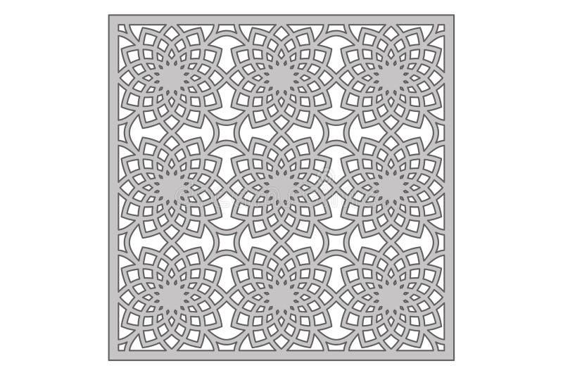 Molde para cortar Teste padrão de flor geométrico Corte do laser 1:1 da relação Ilustração do vetor ilustração do vetor