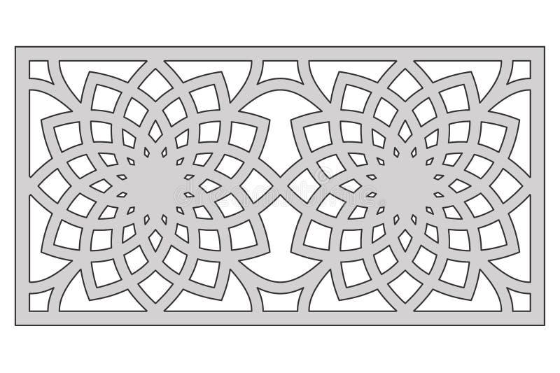 Molde para cortar Teste padrão de flor geométrico Corte do laser 1:2 da relação Ilustração do vetor ilustração stock