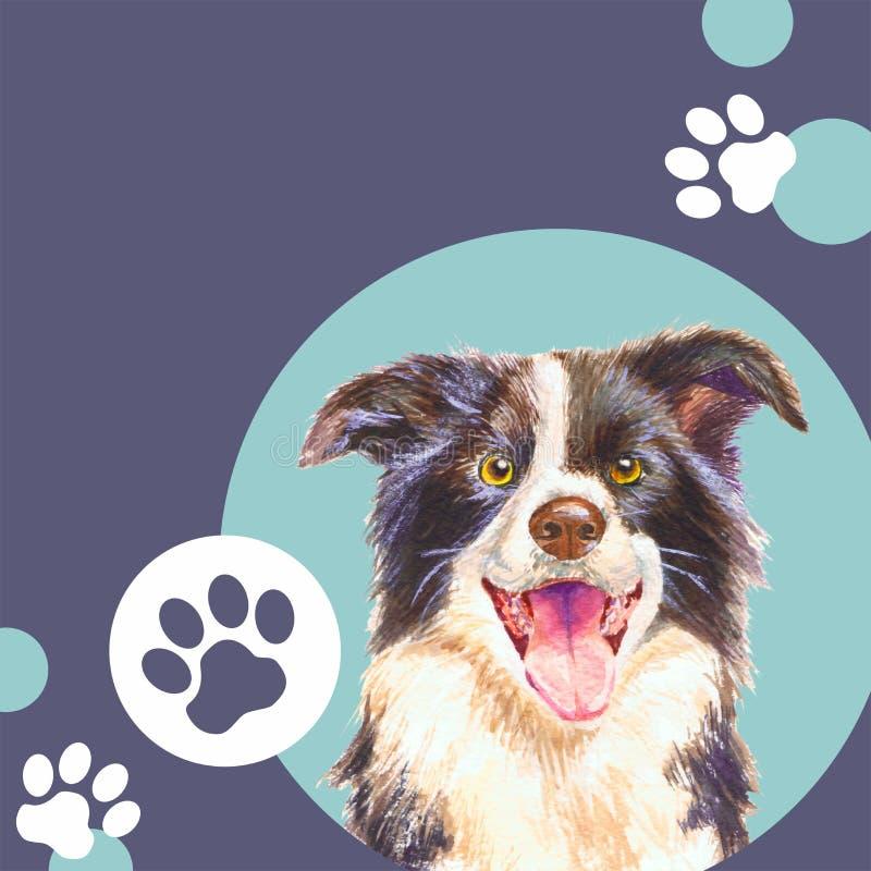Molde para a loja veterinária da clínica ou do animal de estimação Cão Fundo ilustração stock