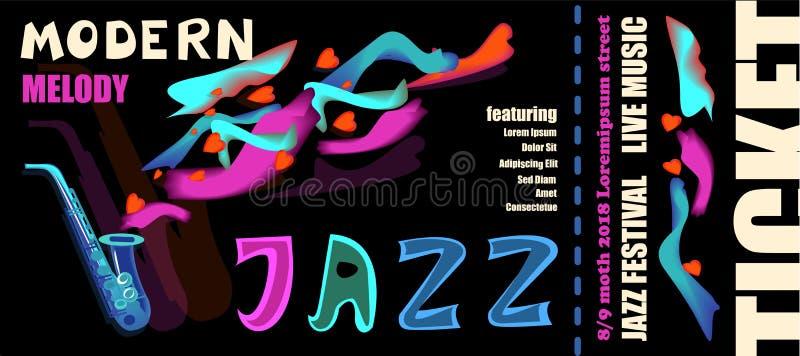 Molde para o bilhete do festival de jazz com instrumentos musicais ilustração stock