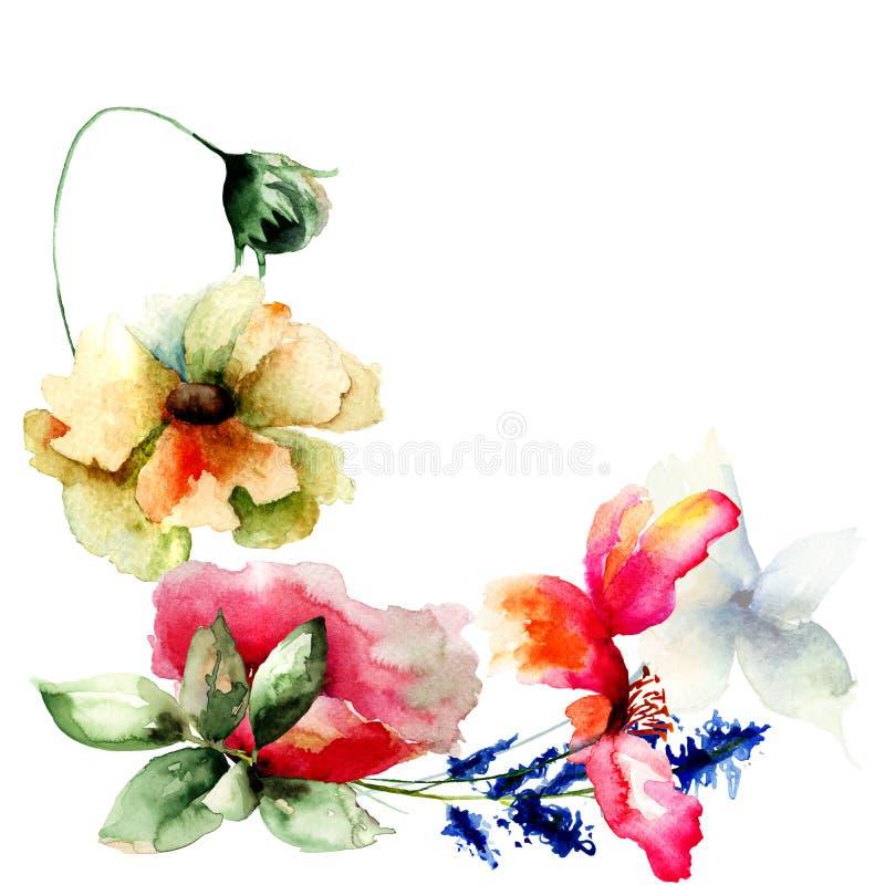 Molde para o cartão com flores ilustração stock