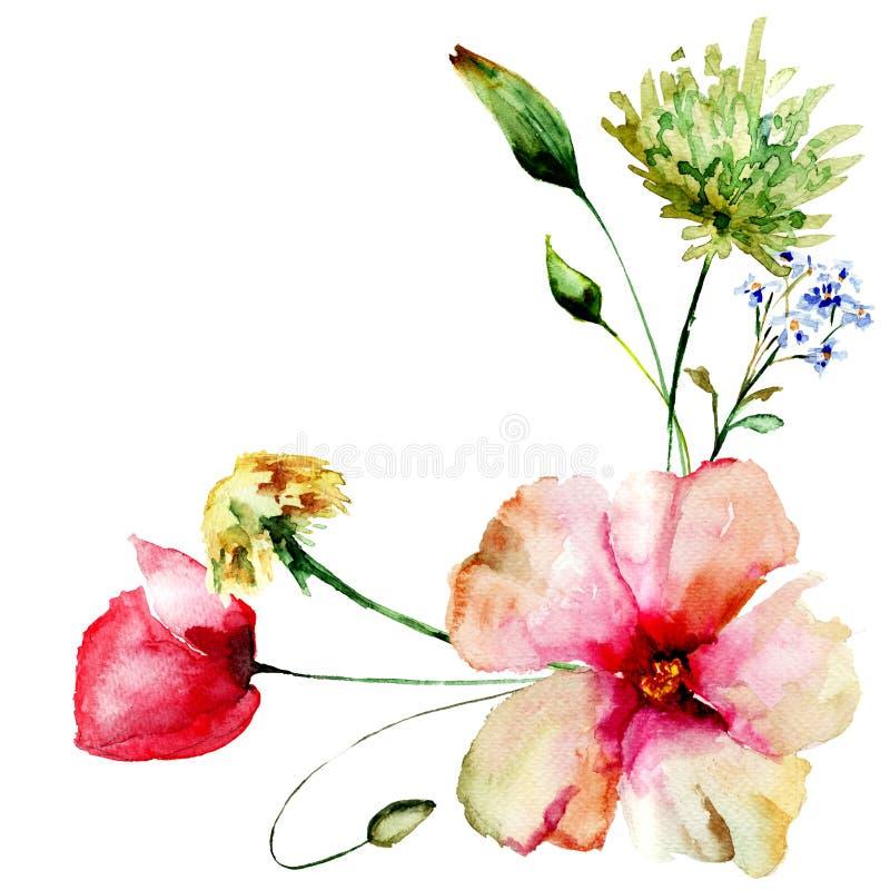 Molde para o cartão com flores da mola ilustração do vetor