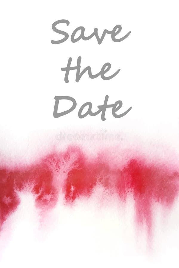 Molde para o cartão com fundo vermelho da aquarela ilustração do vetor
