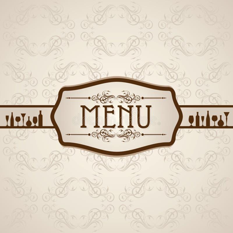 Molde para o cartão do menu com cutelaria ilustração do vetor