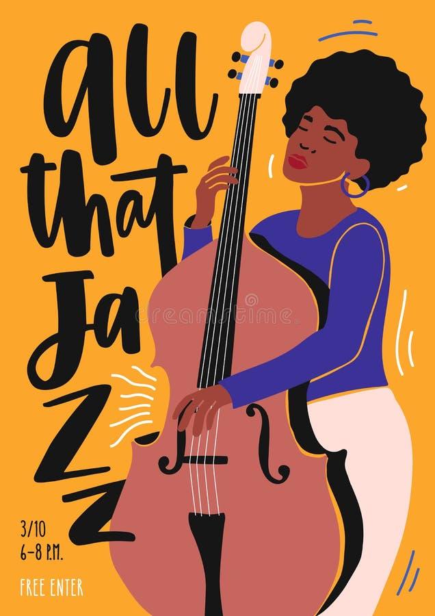 Molde para o convite do clube de jazz, o desempenho da faixa da música ou o inseto do concerto com o músico fêmea que joga o cont ilustração royalty free