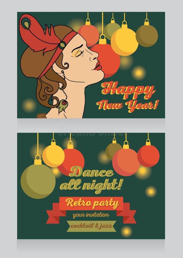 Molde para o convite do partido do ano novo feliz ilustração royalty free