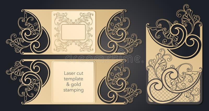 Molde para o corte do laser Disposi??o a c?u aberto do envelope festivo, um cart?o para seu texto, uma etiqueta, uma nota no ilustração stock