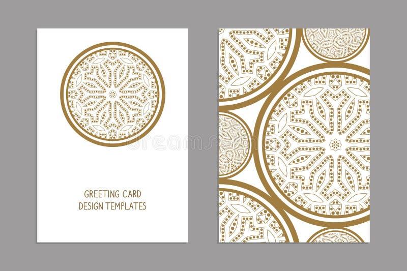 Molde para o cumprimento e os cartões, folhetos, tampas Teste padrão oriental manda ilustração royalty free