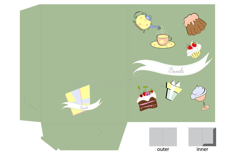 Molde para o dobrador com doces ilustração do vetor