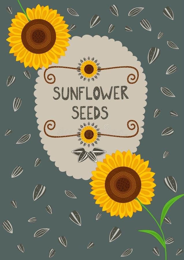 Molde para o empacotamento e as etiquetas das sementes de girassol ilustração stock